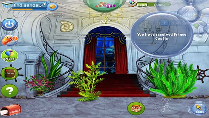 Cinderella s glass sandal is hidden behind other for Tap tap fish all hidden fish